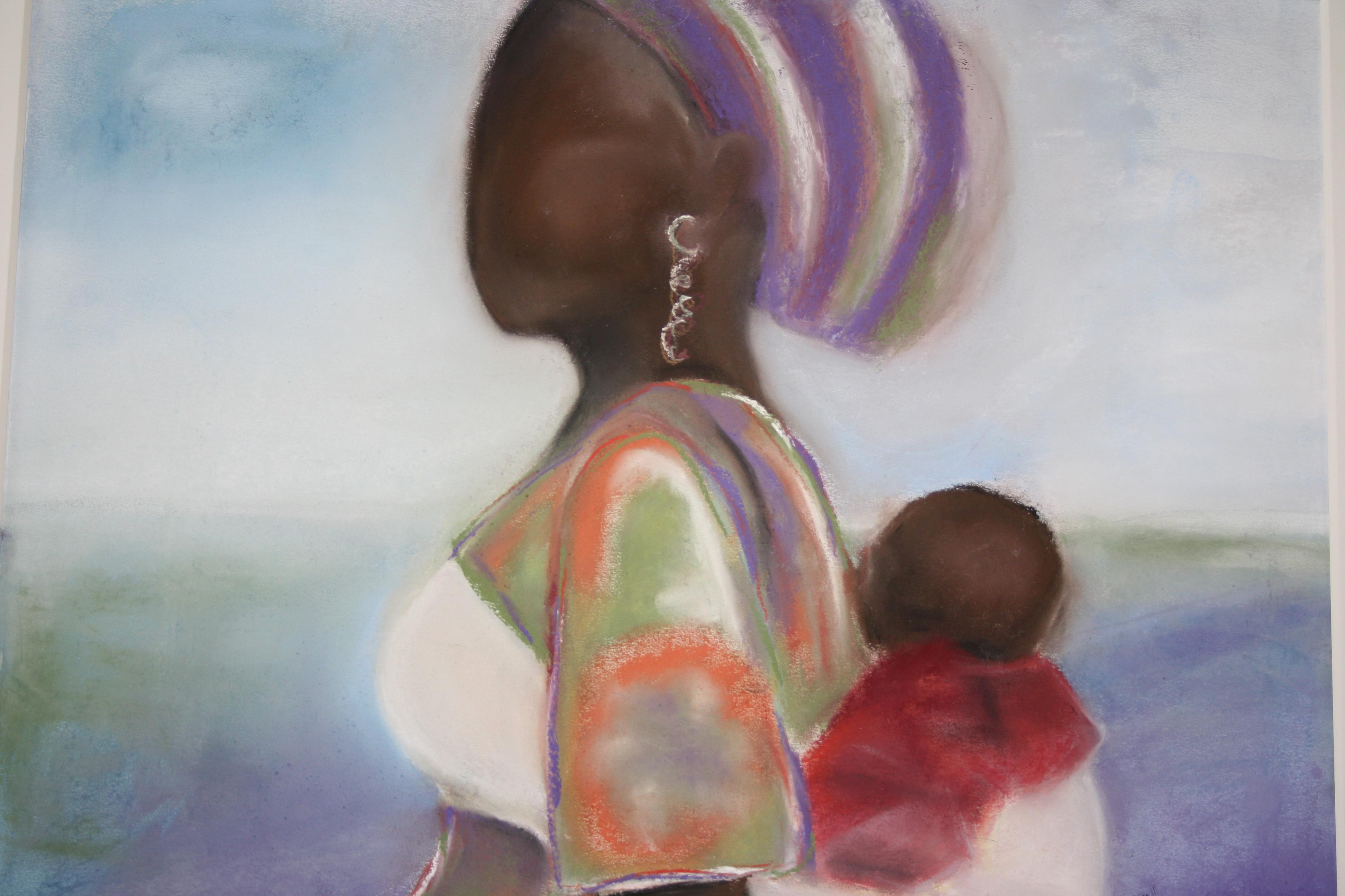 Moeder en kind aan zee